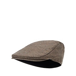 Hammond & Co. by Patrick Grant - Brown herringbone earflap flat cap with wool