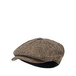 Hammond & Co. by Patrick Grant - Green herringbone wool baker boy hat