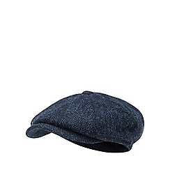 Hammond & Co. by Patrick Grant - Navy herringbone wool baker boy hat