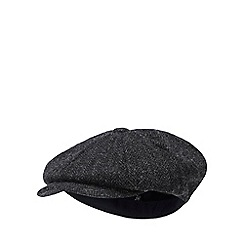 Hammond & Co. by Patrick Grant - Black herringbone wool baker boy hat