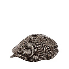 Hammond & Co. by Patrick Grant - Brown herringbone wool baker boy hat