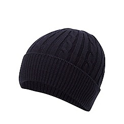 Hammond & Co. by Patrick Grant - Navy cable knit beanie hat with wool