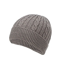 Hammond & Co. by Patrick Grant - Dark grey cable knit beanie hat with wool