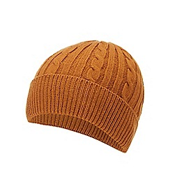 Hammond & Co. by Patrick Grant - Camel cable knit beanie hat with wool