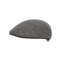 The Collection - Grey wool moulded flat cap