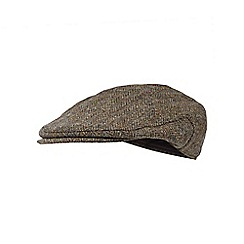 RJR.John Rocha - Brown herringbone Harris Tweed wool flat cap
