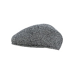 RJR.John Rocha - Grey herringbone Harris Tweed wool flat cap