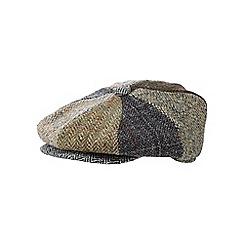 RJR.John Rocha - Khaki patchwork Harris Tweed wool flat cap