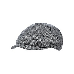 RJR.John Rocha - Grey herringbone Harris Tweed baker boy cap