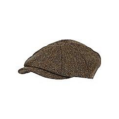 RJR.John Rocha - Green wool Harris Tweed baker boy cap