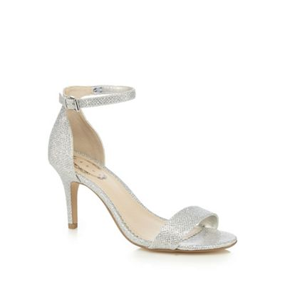 Debut Silver Glitter High Stiletto Heel Ankle Strap
