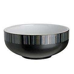 Denby - Black glazed 'Jet' striped cereal bowl