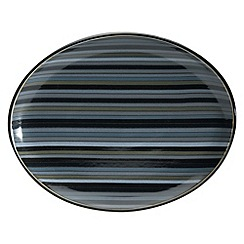 Denby - Black glazed striped 'Jet' oval platter