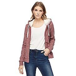 Mantaray - Pink fleece lined zip through hoodie
