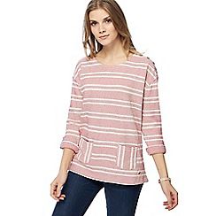 Mantaray - Pink textured striped top
