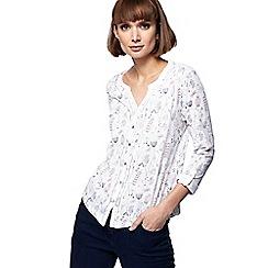 Mantaray - Off white dragonfly print jersey shirt