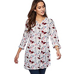 Mantaray - Off white floral print longline shirt