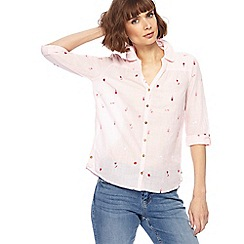 Mantaray - Light pink fine striped floral embroidered shirt