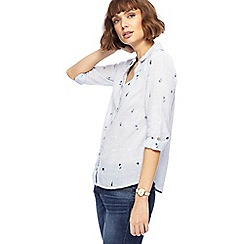 Mantaray - Light blue fine striped floral embroidered shirt