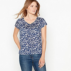 Mantaray - Navy floral print shell top