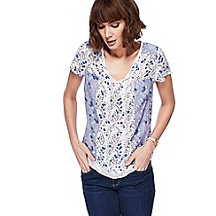 Mantaray - White and blue floral print notch neck top