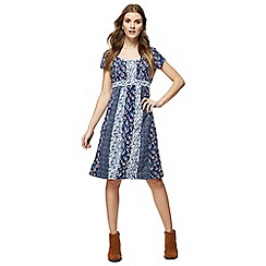 Mantaray - Navy floral patchwork print knee length dress