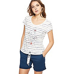 Mantaray - White striped bird print tie hem top
