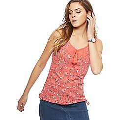 Mantaray - Dark peach bird print bubble top