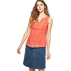 Mantaray - Dark orange floral embroidered notch neck vest top