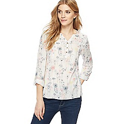 Mantaray - Off-white floral print shirt