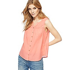 Mantaray - Dark peach textured notch neck top