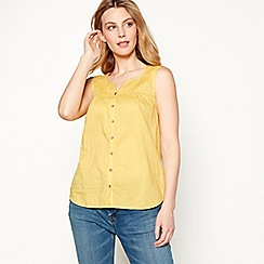 Mantaray - Dark yellow embroidered cotton V-neck sleeveless top