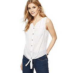 Mantaray - White self tie hem top