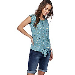Mantaray - Light turquoise floral print top