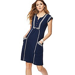 Mantaray - Navy embroidered capped sleeve mini tunic dress