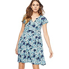 Mantaray - Light turquoise floral print short length skater dress