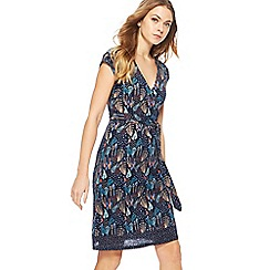 Mantaray - Navy fern print V-neck knee length wrap dress