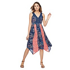 Mantaray - Navy floral print V-neck midi dress