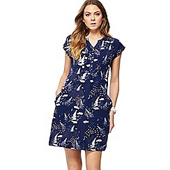 Mantaray - Navy fern print mini tunic dress