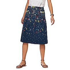 Mantaray - Navy ombre-effect floral print skirt