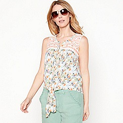 Mantaray - White floral parrot print embroidered cotton V-neck sleeveless top