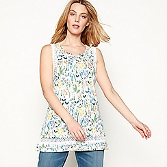 Mantaray - White floral embroidered cotton V-neck sleeveless tunic top