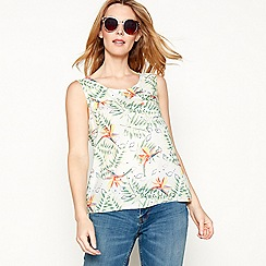 Mantaray - Dark peach paradise bird print sleeveless top