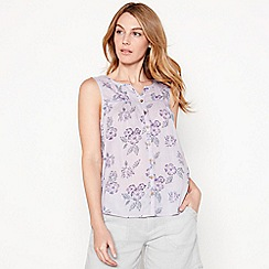 Mantaray - Lilac floral embroidered cotton V-neck sleeveless top