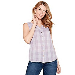 Mantaray - Lilac check print V-neck sleeveless top