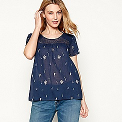 Mantaray - Dark blue floral crochet cotton short sleeve t-shirt