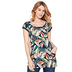 Mantaray - Navy floral print cotton blend short sleeve tunic top
