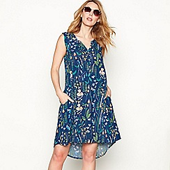 Mantaray - Navy floral print cotton V-neck sleeveless high low dress