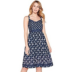 Mantaray - Navy tile print embellished cotton V-neck knee length dress