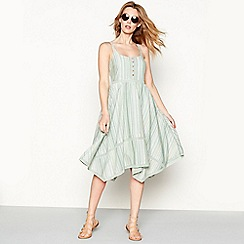 Mantaray - Light green striped embroidered cotton high low dress